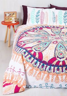 After a restful sleep beneath this boho-inspired duvet cover, your stylish snooze prompts abundant gratitude. Emblazoned with a magenta, peach, and navy medallion design exclusive to ModCloth, this cotton covering helps itself to brightening up your bedroom, and your mood!