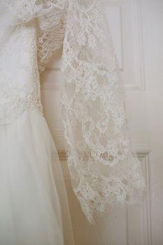 Wedding dress lace detail.