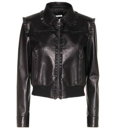 MIU MIU Ruffle-Trimmed Leather Jacket. #miumiu #cloth #jackets