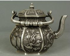 Chinese Copper Carve Lotus Pond Scenery Teapot | eBay