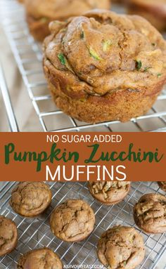 No Sugar Added Pumpkin Zucchini Muffins Grab-and-go breakfasts are a must for back to school season! No Sugar Added Pumpkin Zucchini Muffins are a nutritious choice, too. Packed with pumpkin and zucchini and made without refined sugar, it's a great way to Healthy Baking, Healthy Snacks, Healthy Recipes, Healthy Life, Keto Recipes, Pumpkin Zucchini Muffins, Healthy Zucchini Muffins, Healthy Muffins For Kids, Zuchinni Desserts