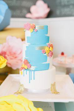 painted wedding cake - photo by Artiese Studios http://ruffledblog.com/bridal-shower-inspiration-with-baebrunch