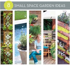 Roundup: 8 DIY Small Space Garden Ideas (The umbrella with the planter as the base is my favorite.)