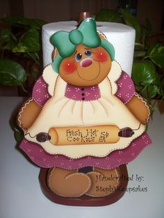 Handpainted Gingerbread Paper Towel Holder