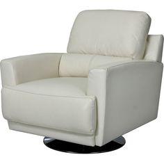 Living Room Furniture - Nico Genuine Leather Swivel Chair - Ivory