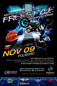 Ya puedes adquirir tus entradas para el Motocross Freestyle en Caracas! Las taquillas están ubicadas en la Librería Tecniciencia CCCT y tiendas Aero Música CC El Recreo y Paseo las Mercedes (nivel trasnocho)