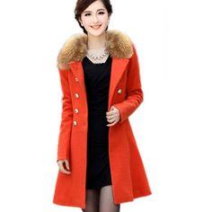 FINEJO Women's Fur Collar Trench Doub...