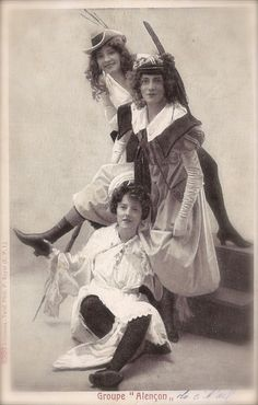 A young Émilienne d'Alençon (bottom) before finding fame and fortune as one of Belle Epoque Paris' most notorious courtesan.