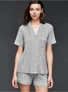 Gap has pajamas and sleepwear in coordinating tops and bottoms. From nightgowns to pajama sets, GapBody has a range of colors and designs. Babydoll Nightwear, Lingerie Sleepwear, Sleepwear Women, Pajamas Women, Bride Dressing Gown, Long Sleeve Pyjamas, Gap Women, Women Lingerie, Sexy Lingerie