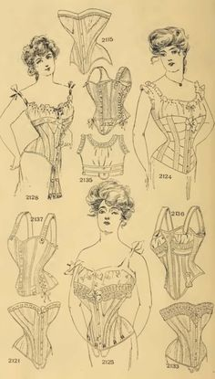 """Corsetry was a rather defining feature of Edwardian era fashion. It was at times both horrifying and beautiful. It rearranged the organs within---ugh! It's difficult not to shudder. But there is an odd aesthetic beauty to some of it. In a quote from """"Ragtime"""", Emma Goldman talks to Evelyn Nesbit: """"My God, stays like steel. Your waist is pinched tighter than a purse string. … It is ironic that you are thought of in homes all over America as a shameless licentious wanton."""""""