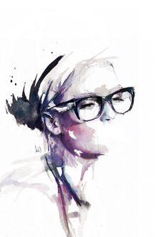 Aquarelle d'une femme à lunettes peinte par Florian Nicolle.