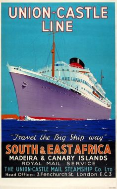 South East Africa Union Castle Line, 1930s - original vintage poster by Greig listed on AntikBar.co.uk