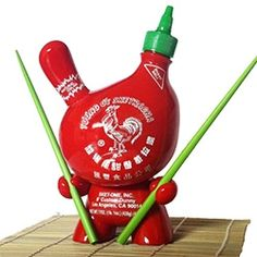 """Sket One's Sketracha Hot Chili Sauce 8"""" Dunny - It comes signed/numbered with a pair of bright green bamboo chopsticks and a Bamboo Place Mat."""