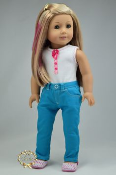 "American girl doll clothes  OOAK "" Zippered jeans with key chain "" ONLY"