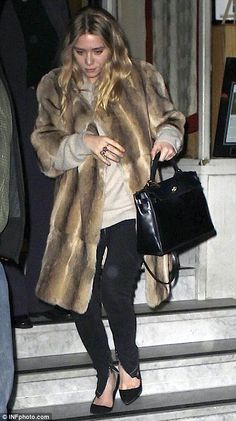 Watch out for PETA! Ashley Olsen steps out in a real fur coat