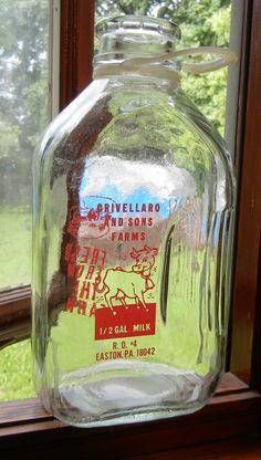 Vintage Dairy Glass Pyro Milk Bottle Half Gallon Crivellaro Sons Farm Easton PA | eBay