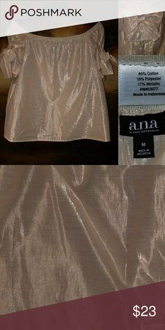 A.N.A shimmery bow top Sz M This top has a beautiful, Rich texture to it! It is boat neck Style with adjustable bow sleeves. A gift that was Never Worn! a.n.a Tops Blouses
