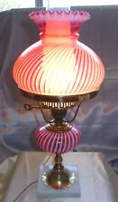 """MINTY~VINTAGE~1950's""""FENTON GLASS""""STUDENT LAMP""""CRANBERRY OPALESCENT""""SPIRAL OPTIC"""