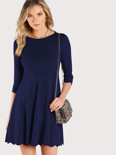 Shop V Cut Back Curved Hem Dress online. SheIn offers V Cut Back ... c0878311e