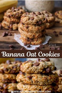 Six ingredients, no resting time, no flour, no eggs or butter (you could even make them vegan if you swap the chocolate chips for raisins or carob chips). They're super simple to make too. #oatcookies #bananacookies #breakfastcookies #banana #bananacookies #bananaoatcookies #glutenfreecookies Oat Cookie Recipe, Best Cookie Recipes, Bar Recipes, Dessert Recipes, Cooking Recipes, Banana Oatmeal Cookies, Banana Oats, Chewy Chocolate Chip Cookies, Chocolate Chips