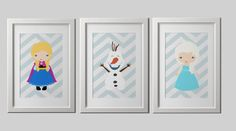 FROZEN inspired wall art PRINTS by AmysSimpleDesigns. Just bought the girls for my girl now all I need is Olaf for set! So excited about it!