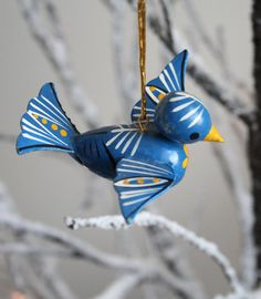 Vintage Christmas Ornament - Blue Bird Vintage Ornament - Handpainted Wooden…