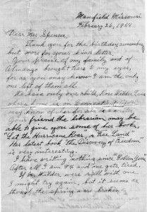 letter from Laura Ingalls Wilder to school children page 1