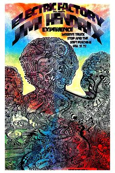 Psychedelic: Jimi Hendrix Experience at Electric Factory Concert Poster 1968 Rock Posters, Band Posters, Concert Posters, Music Posters, Affiche Jimi Hendrix, Psychedelic Rock, Psychedelic Posters, Jimi Hendrix Experience, Vintage Rock
