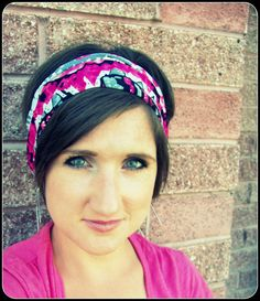 Simple Boho Wide Stretch Headband  Hot Pink Zig Zag by LCDecorStudio, $10.00