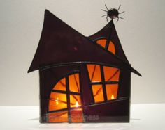 Halloween Stained Glass Candle Holder Decoration Haunted Mansion Wicca Purple Orange 3 Handmade OOAK