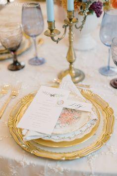 Romantic Garden Wedding | ElegantWedding.ca Gold Color Palettes, Table Setting Inspiration, Wedding Place Settings, Blush And Gold, Romantic Weddings, Garden Wedding, Wedding Centerpieces, Reception, Place Card Holders