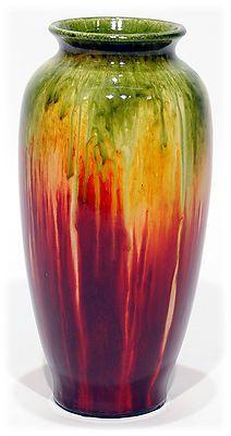 "Red Orange Green Drip Glazed Ceramic Vase Home Decor Accent 10"" NEW G1900"