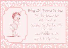 Baby Shower Invitation  Vintage Baby Girl