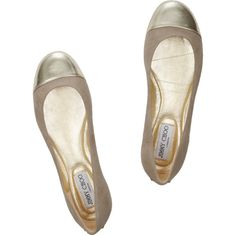 Jimmy Choo Whirl suede and metallic leather ballet flats