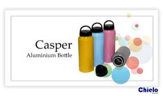 Aluminum water bottles type of Casper   Size: 20,5cm x 6,5cm x 6,5cm capacity 500ml, color: blue, gray, pink, yellow           With different lid models give kids another option, fitting inserted into your child's school bag to accompany the days active, sports, and other outdoor activities. Cap of the bottle using a threaded facilitate access to water turnover, is also very easy to clean. Ideal used as gifts for kids event activities such as race, class meeting or competition.