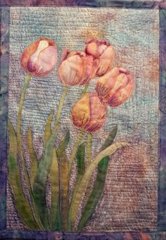 Hand painted fabric  Tulips by FabricandStitch on Etsy,
