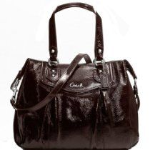 New Authentic COACH Mahogany Brown Patent Leather Ashley Shoulder Bag 20451 w/COACH Receipt From Coach - Bags or Shoes Shop