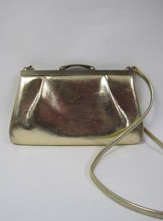 Vintage 1960s Shiny Gold Metallic Evening Shoulder Bag available to buy online at Virtual Vintage Clothing £14