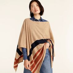 J.Crew: Cashmere-blend Popover Poncho In Stripe For Women