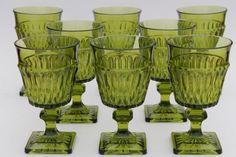 vintage Mt Vernon Indiana glass wine glasses water goblets, avocado green Mount Vernon