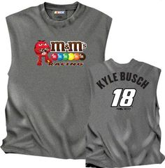 Kyle Busch M's Sleeveless T-Shirt: Kyle Busch #18 Name and Number Sleeveless T-Shirt by Checkered Flag. $21.99. Calling all NASCAR enthusiasts! If you are the ultimate racing fan, make sure you represent your favorite driver with this Kyle Busch M's Sleeveless T-Shirt: Kyle Busch #18 Name and Number Sleeveless T-Shirt! With bold screen print graphics and a rib knit collar, this super comfy NASCAR t-shirt tee is perfect for lounging in while you watch the race.