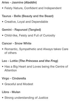THE SIGNS AS DISNEY PRINCESSES: (@astrillogy ✨ on twitter)