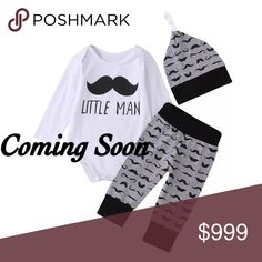 """🆕 """"Little Man"""" Mustache 3pc Set Brand New! Includes onesie, pants and hat. Cotton blend. This outfit will be great for that new little man in your life. Matching Sets"""