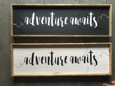 Adventure Awaits Rustic Sign Farmhouse Sign by