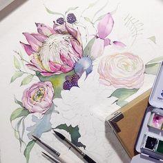# misha_illustration # illustration # blume # blumen # topcreator # art_we_inspire # inspir … - Funmey Watercolor Artists, Watercolour Painting, Watercolor Flowers, Painting & Drawing, Watercolours, Art And Illustration, Illustrations, Inspiration Art, Botanical Art
