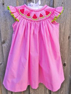 Pink Checked Smocked Watermelon Dress