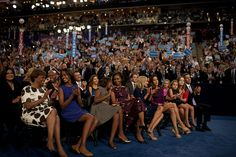 Surrounded by a few of my favorite people watching Joe and Barack speak at the Democratic National Convention. –mo