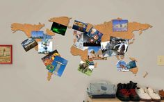33 Brilliant Ways to Actually Use Your Travel Photos - Pin them to a cork map bulletin board from InStyle.com