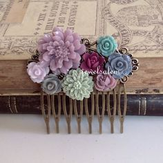 Wedding Hair Comb Bridal Hair Accessories Lilac Mint by Jewelsalem, $20.00