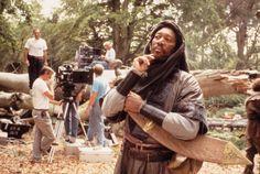 Morgan Freeman on the set of Robin Hood: Prince of Thieves Morgan Freeman, Kevin Costner, Book Tv, Films, Movies, On Set, Classic Hollywood, Robin, Prince